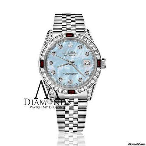 Rolex Womens Rolex 31mm Datejust Baby Blue Mop Dial With Ruby  Diamond Bezel Rrt