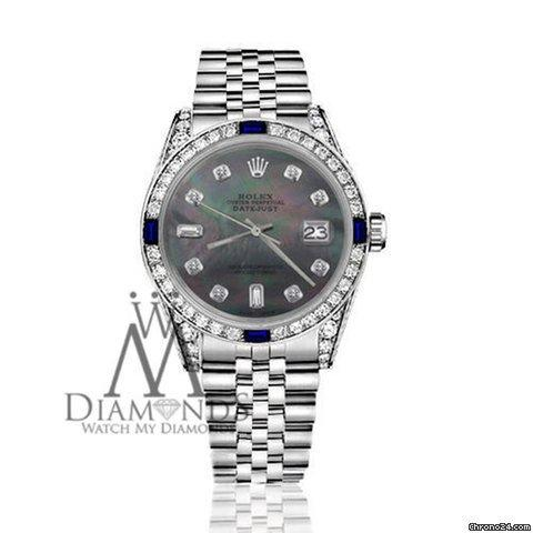 Rolex Womens Rolex 31mm Datejust Black Mop Dial With Sapphire  Diamond Bezel Watch