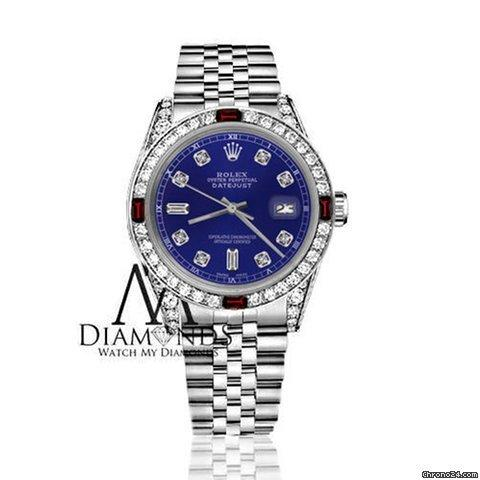 Rolex Womens Rolex 31mm Datejust Blue Color Dial With Ruby  82 Diamond Bezel Accent