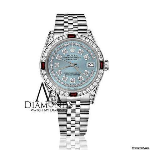 Rolex Womens Rolex 31mm Datejust Ice Blue String Dial With Ruby  Diamond Bezel Watch