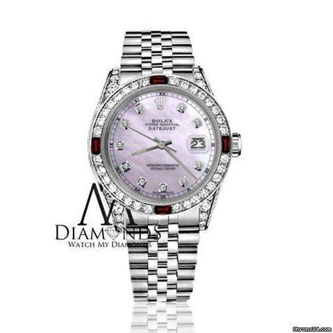 Rolex Womens Rolex 31mm Datejust Pink Mop Dial With Ruby  Diamond Bezel Accent Watch