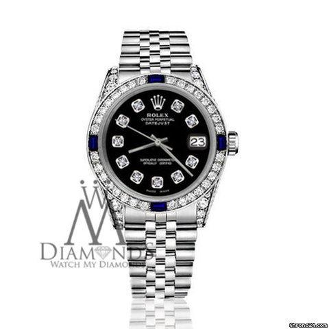 Rolex Womens Rolex 31mm Datejust Ss Black Dial With Sapphire  Diamond Bezel Watch