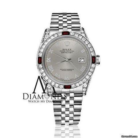 Rolex Womens Rolex 31mm Datejust Ss Grey Roman Numeral Dial Ruby  Diamond Bezel