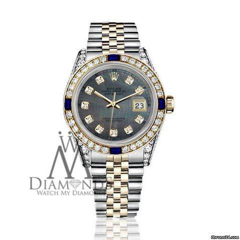 Rolex Womens Rolex 31mm Datejust Watch Black Mop Dial Sapphire  Diamond Bezel