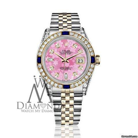 Rolex Womens Rolex 31mm Datejust Watch Pink Flower Dial With Sapphire  Diamond Bezel