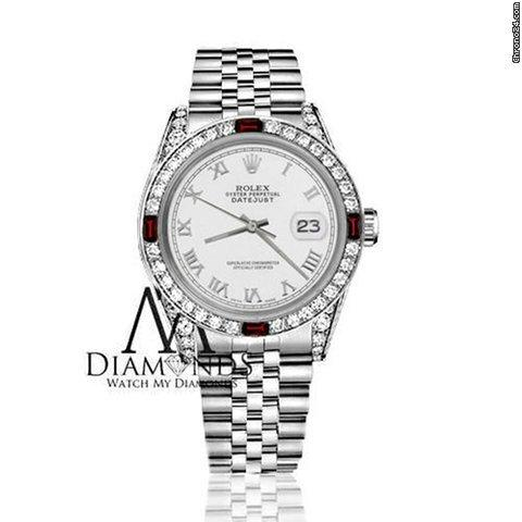 Rolex Womens Rolex 31mm Datejust White Color Roman Numeral Dial Ruby  Diamond Bezel