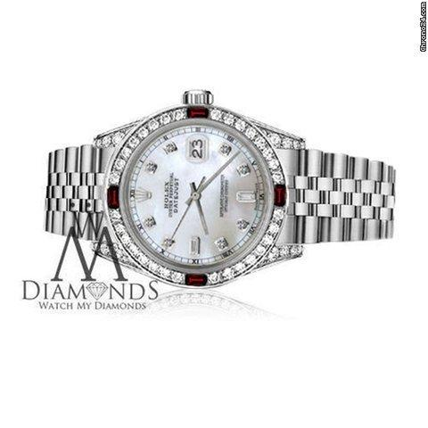 Rolex Womens Rolex 31mm Datejust White Mop Dial With Ruby  10 Diamond Bezel Rt Watch
