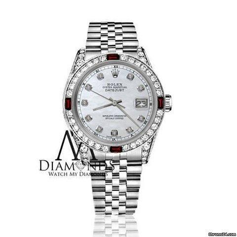 Rolex Womens Rolex 31mm Datejust White Mop Dial With Ruby  Diamond Bezel Watch