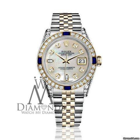 Rolex Womens Rolex 31mm Datejust White Mop Dial With Sapphire  Diamond Bezel Watch
