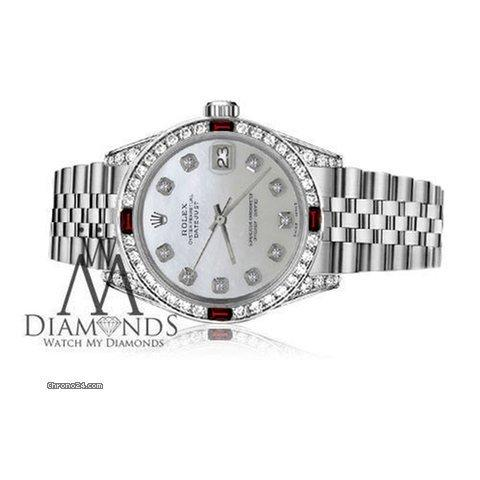 Rolex Womens Rolex 31mm Datejust White Mop Mother Of Pearl Dial Ruby  Diamond Bezel