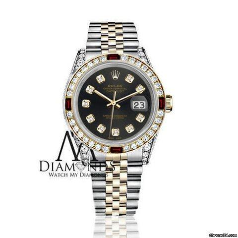 Rolex Womens Rolex Ss Gold 31mm Datejust Watch Chocolate Dial Ruby  Diamond Bezel