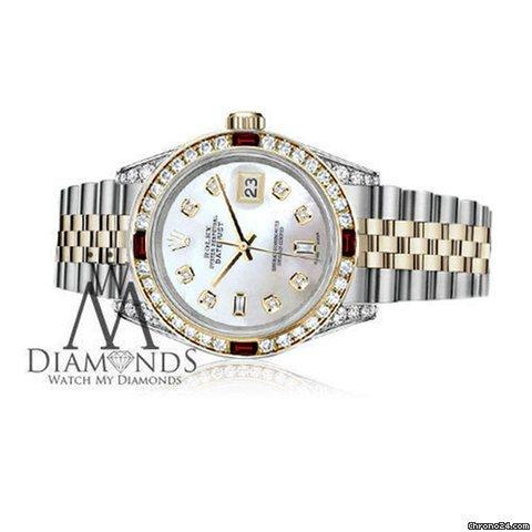 Rolex Womens Rolex Ss Gold 31mm Datejust Watch White Mop Dial Ruby  Diamond Bezel