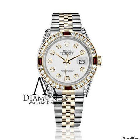 Rolex Womens Rolex Steel  Gold 31mm Datejust White Dial Ruby  Diamond Bezel Watch
