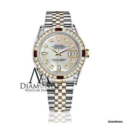 Rolex Womens Rolex Steel  Gold 31mm Datejust White Mop Dial Ruby Diamond Bezel Watch
