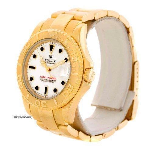 Rolex yachtmaster midsize 18k yellow gold white dial watch for Mercedes benz 18k gold ring