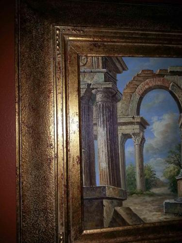 Roman Ruins Painting very beautiful 23 x 26.5 sell $100