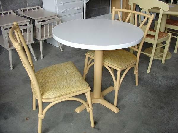 Round 29 12 Table  2 Bamboo Chairs $85, Small Cabinet $48