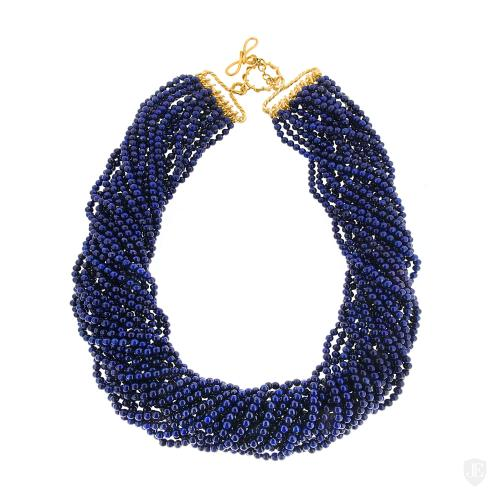 Round Lapis Lazulli Multi Strands Necklace