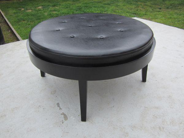 Round leather coffee table ottoman for sale in burlingame california