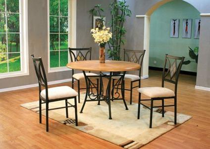 Round Oak Top Dining Set-No Credit Needed Financing