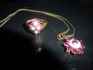 Ruby & Diamond Ring & Necklace - $850 (DU Area)