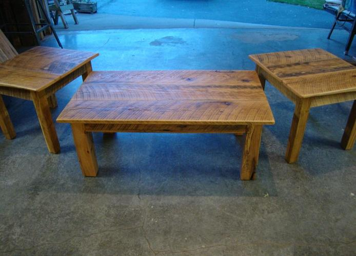 RUSTIC COFFEE AND 2 END TABLES SET