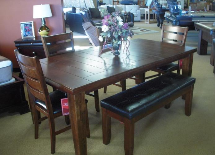 Rustic dining room dinette set with chairs bench