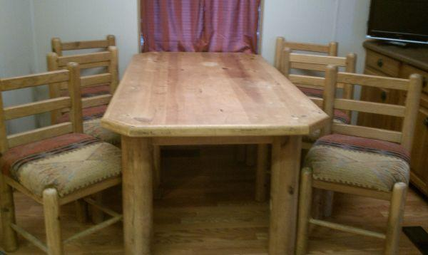 Rustic Dining Table Solid Wood Seats 6 Roswell For