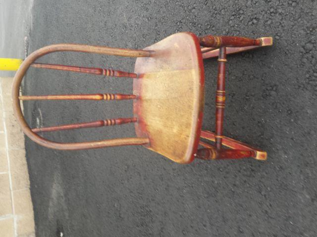 Rustic Early American Childs Bent Wood Rocking Chair c.1800 to 1880s