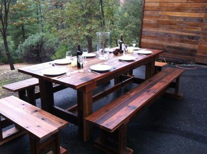 Rustic Harvest Table and Bench Set
