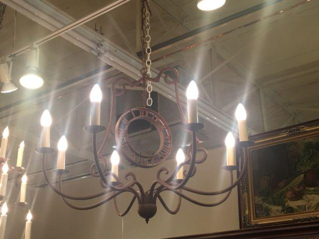Rustic Iron Eight Lite Chandelier With Clock Face