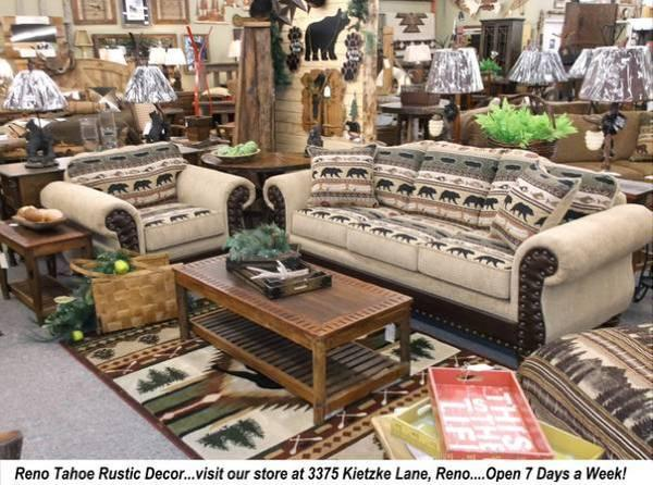 Rustic Log  Cabin Style Furniture  Mattress Sets on display in Reno