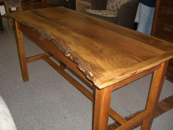 Bon Rustic Rough Sawn Oak Table, Natural Bark Edges   $450