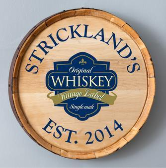 Rustic Whiskey Barrel Sign Great Gift for a Man Cave or Bar