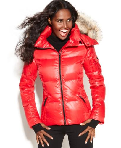 S13 Nyc Hooded Faux Fur Trim Quilted Puffer Coat For Sale
