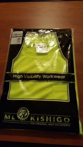 SAFETY SHIRTS NEON YELLOW SIZE LARGE W/FRONT POCKET