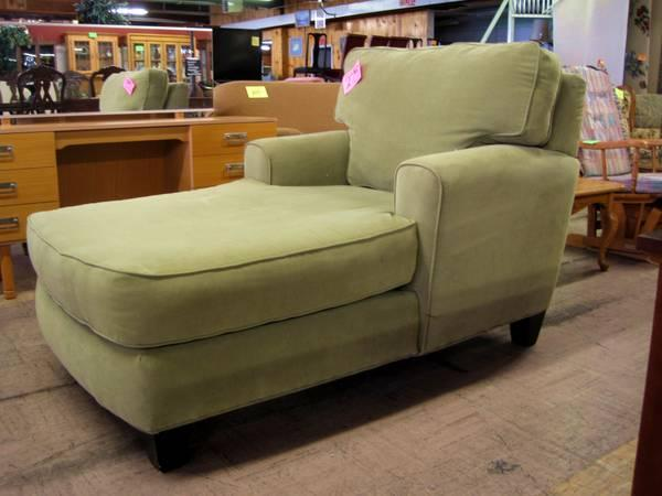 SAGE GREEN CHAISE LOUNGE CHAIR|EUGENE LIQUIDATORS