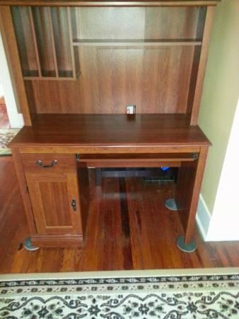 Sauder Camden County Computer Desk with Hutch Planked Cherry - $75