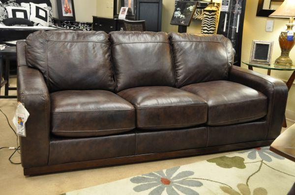 Save hundreds new ashley genuine leather sofa brown for Brown leather sectional sofa ashley furniture