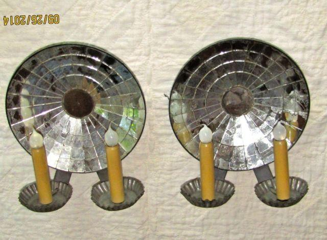Antique Tin Wall Sconces : SCONCES, ANTIQUE, PAIR OF TIN MIRRORED WALL SCONCES, 9