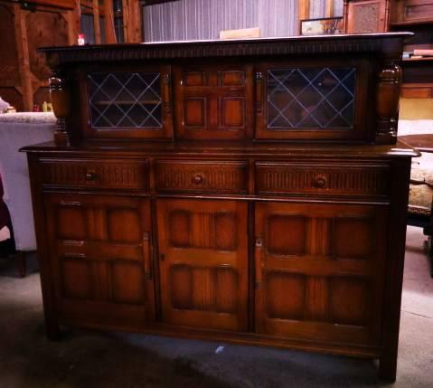 SCOTTISH OAK BUFFET/SERVER WITH LEADED GLASS DOORS -