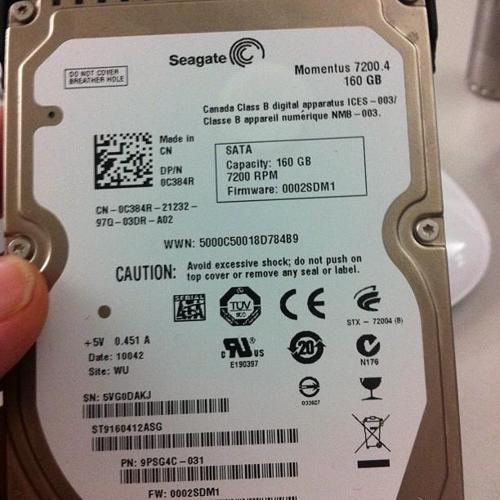 Seagate Momentus 72004 ST9160412ASG 160GB 72K RPM