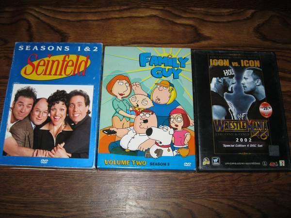 Seinfeld Season 1+2, Family Guy Season 3,Wrestlemania X8/18 - $20