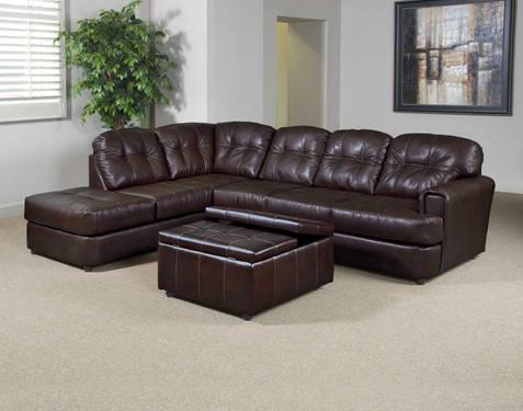 Serta 3000 Brown Leather Sectional Sofa Couch Brand