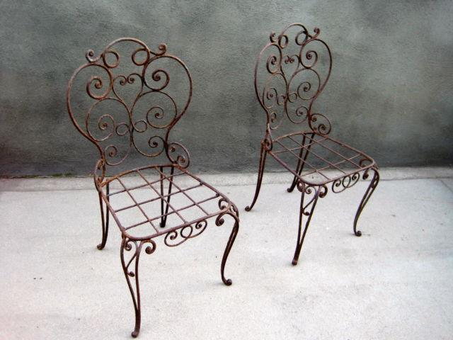 SET OF 2 ANTIQUE WROUGHT IRON CHAIRS