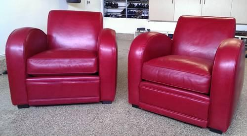 Set of 2 Room & Board red leather Roadster chairs for Sale ...