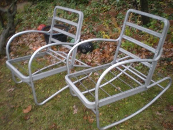 Set Of 2 Vintage Aluminum Outdoor Chairs W Cushions 1950 S