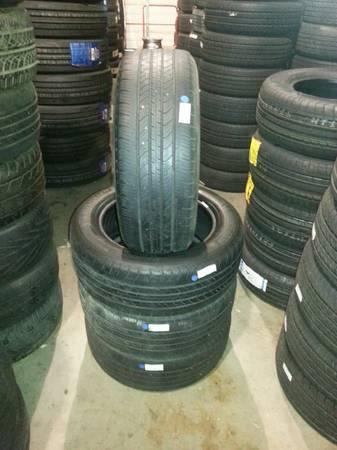 SET OF 215 55 R16 MICHELIN TIRES 65% TREAD 20000 MILE