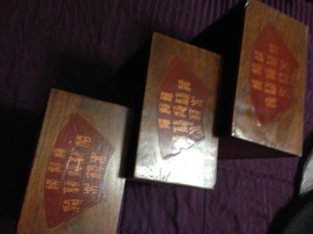 Set of 3 Oriental Themed Deco Wood Boxes