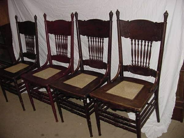 SET OF 4 ANTIQUE OAK PRESSED BACK CHAIRS - $200 - SET OF 4 ANTIQUE OAK PRESSED BACK CHAIRS - For Sale In Boone